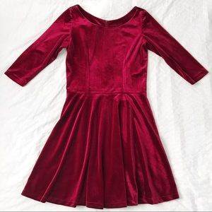 Red velvet fit and flare dress